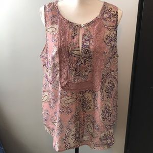 DR2 Paisley pink purple tank blouse XL
